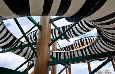 Up close shot of the twisting Zebra water slide.